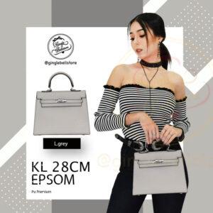 กระเป๋า Kelly Epsom ไซส์ 28 ซ.ม. สีl.grey