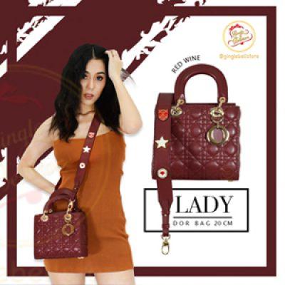 กระเป๋า-dior lady-8นิ้ว-red wine